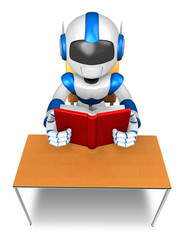 Blue robot character from the desk reading a book. Create 3D Hum