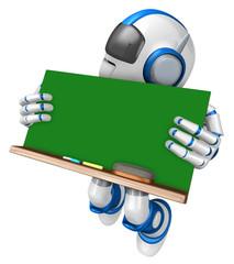 Blue robot character holding a blackboard Jumping. Create 3D Hum