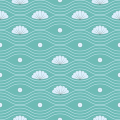 Vector seamless pattern with shells and wavy lines