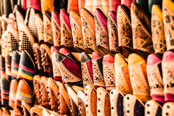 Multicoloured Moroccan slippers, Marrakesh