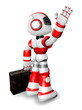 Wave down the Red robot character is carrying a bag. Create 3D H