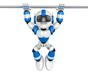 Blue robot character is hanging in horizontal bar. Create 3D Hum