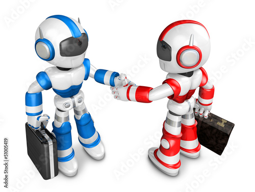 Shake hands Blue robot and Red robot facing each other. Create 3