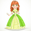 Beautiful princess with brown hair in a green dress