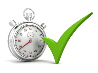 Analog stopwatch with green check on white background