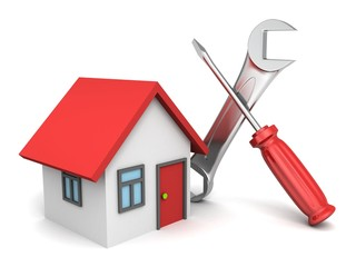 3d house and tools on white background