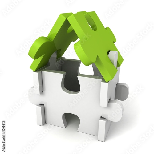 concept puzzle house with green roof on white