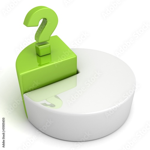 Pie chart with green part and question mark on white background