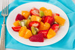 fruit salad on white plate
