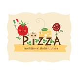 pizza lettering with cartoon ingredients