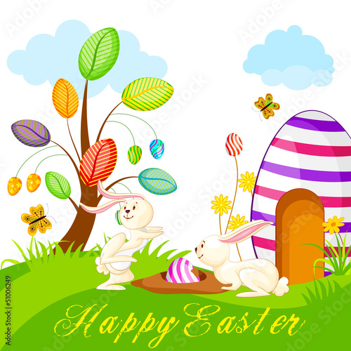 vector illustration of bunny hidding colorful Easter egg