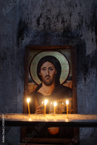 Icon of Jesus on a wall background