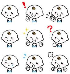 赤ちゃん 表情 手描き風