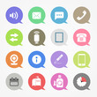 Communication web icons set in color speech clouds