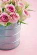 Pink romantic roses on pastel color background