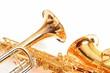 Leinwanddruck Bild - Trompete und Saxophon