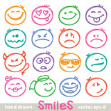 hand drawn smiles