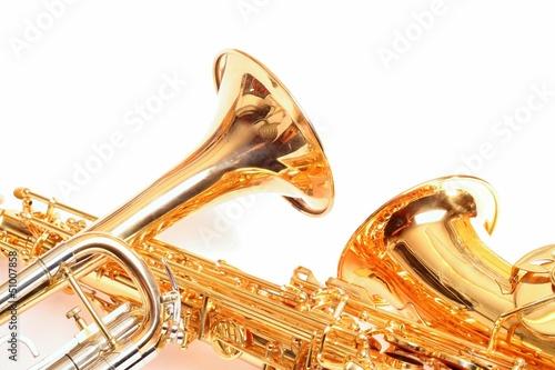 Leinwanddruck Bild Trompete und Saxophon