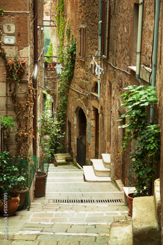 Old town alley in Tuscany Italy - 51007895
