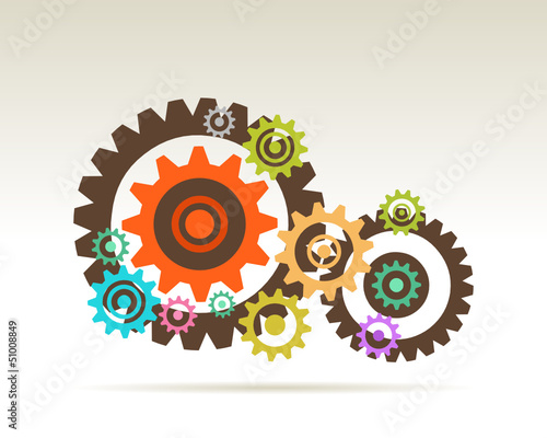 color gears  concept of teamwork