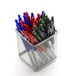 ballpoint pens in a metal basket