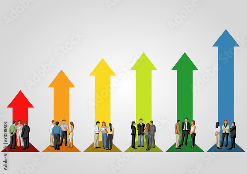 business people over arrow bar chart
