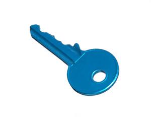 Una llave azul en fondo blanco.