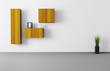 Room with shelves 3d render