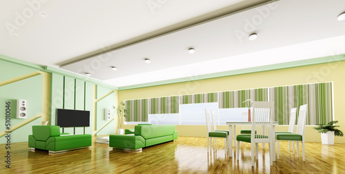 Interior of modern apartment panorama 3d