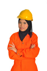 Muslim woman with personal protective equipment