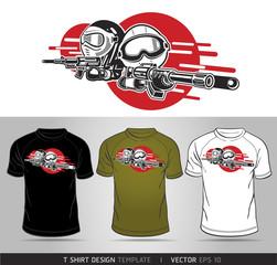 Cartoon Boy and Girl play Airsoft Guns Vector. T-shirt design