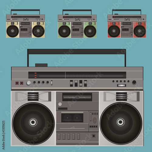 Retro Boombox. Old tape recorder. Vector Illustration