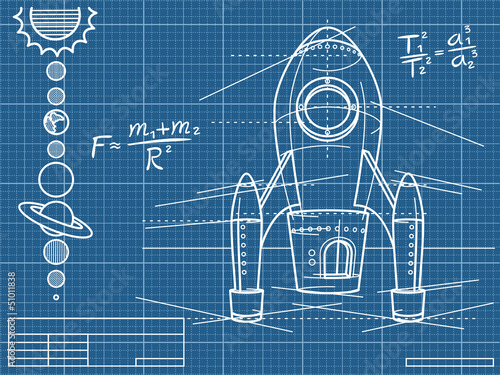 Tapeta blueprint with spaceship and planets