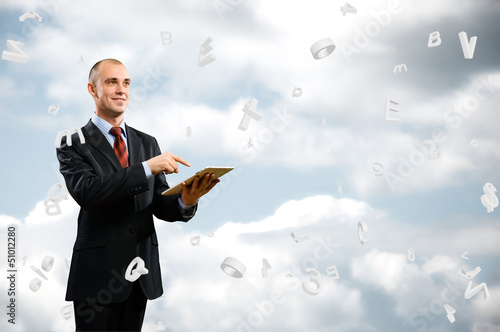 business man is working with tablet