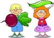 Постер, плакат: Мультфильм детей с овощами