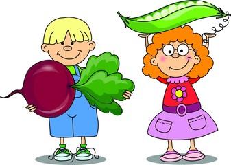 Мультфильм детей с овощами