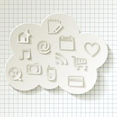 Cloud Computing Cloud-Computing Rechnen in der Wolke Icons Caro