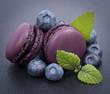 Macarons, myrtille