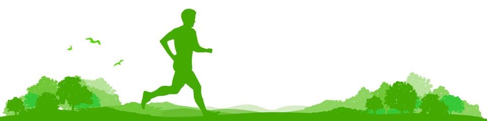 Landschaft mit Jogger / Läufer