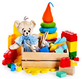 Fototapety Children toys with teddy bear and cubes.
