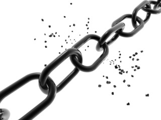 3d chain chrome steel teamwork connection