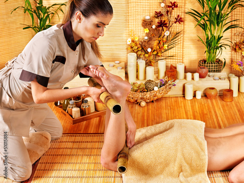 Woman getting feet massage