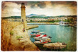 old greek ports - rethymno, crete, vintage picture