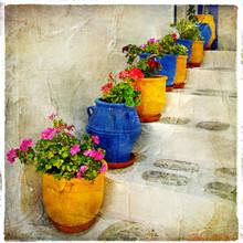 Greckie ulice szczegóły. picure artystyczne