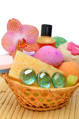 Soap, gel, bath bombs, sponges in the basket