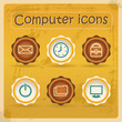 Internet eddiction icons. Vintage design. Grunge style