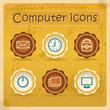 Internet eddiction icons. Vintage design. Grunge style