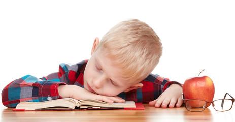 kids sleeping on the books