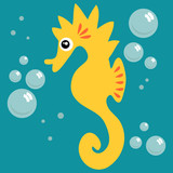 Illustration of a cute seahorse