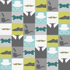 Dandy elements beautiful seamless pattern male fashion